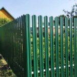 Забор металлический штакетник зеленый